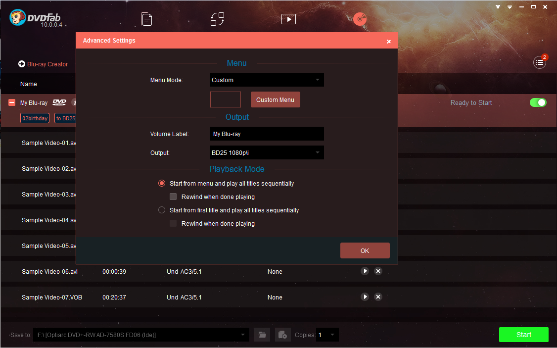 dvdfab blu-ray creator screenshot 2