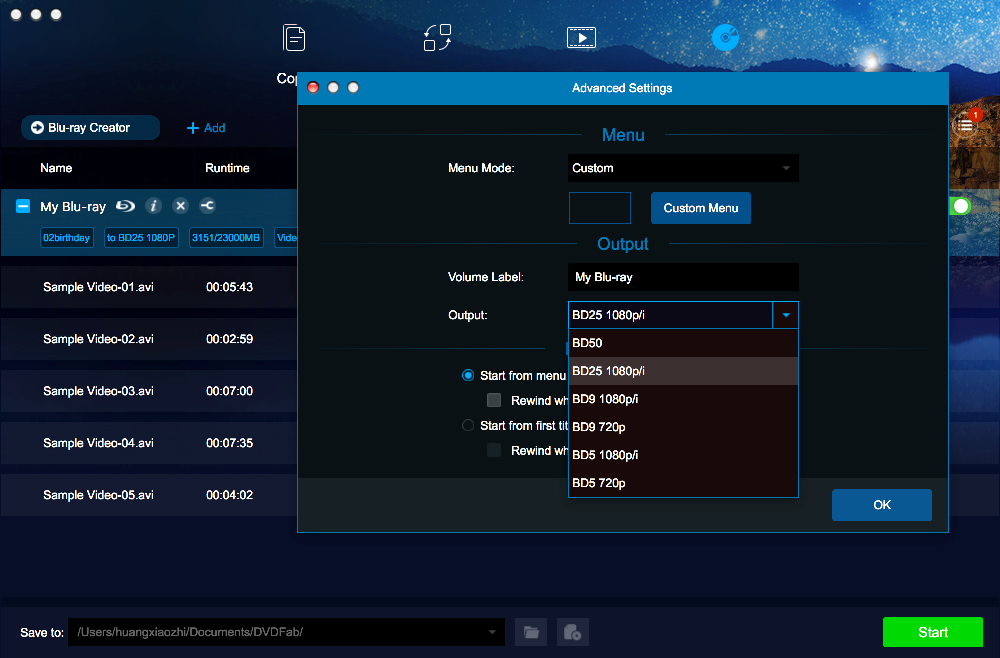 dvdfab blu-ray creator for Mac screenshot 2