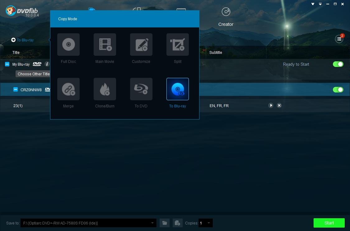 dvdfab dvd to blu-ray converter screenshot 1
