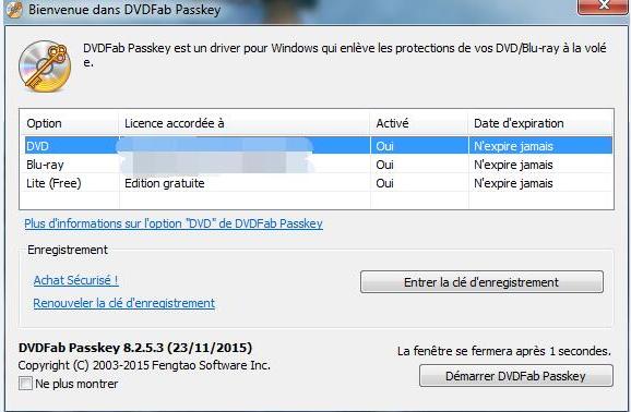dvdfab passkey for blu-ray capture d'écran 1