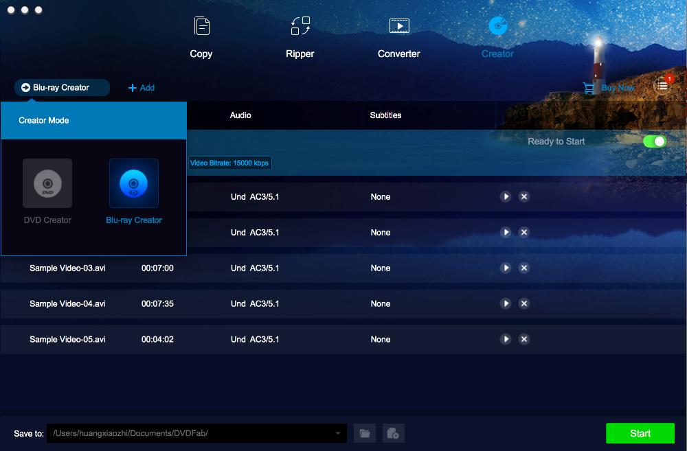 dvdfab blu-ray creator for Mac screenshot 1