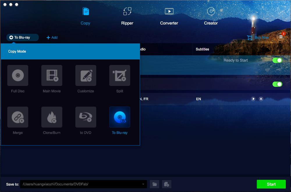 dvdfab dvd to blu-ray converter for Mac screenshot 1