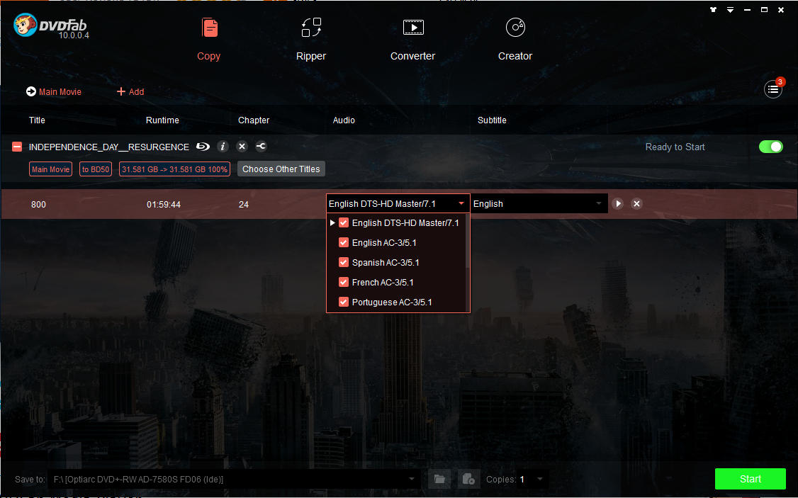 dvdfab hd decrypter screenshot 2